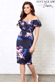 Jessica Wright Floral Print Bardot Bodycon Dress