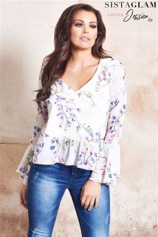 Sistaglam Loves Jessica Floral Bell Sleeve Blouse