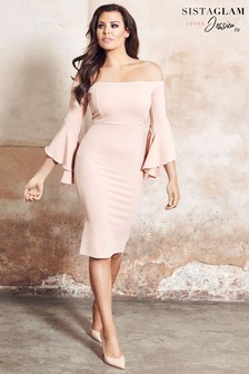 Jessica Wright Bardot Off Shoulder Bell Sleeve Dress