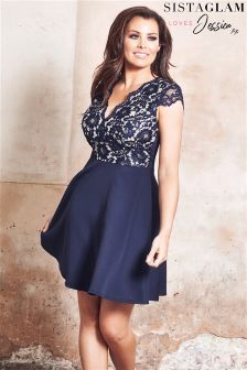 Jessica Wright Sleeveless Corded Lace Top Skater Dress