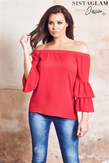Jessica Wright Bardot Top Double Frill Sleeve