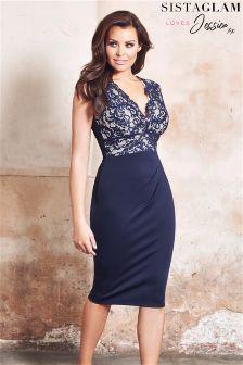 Jessica Wright Lace Top Midi Bodycon Dress