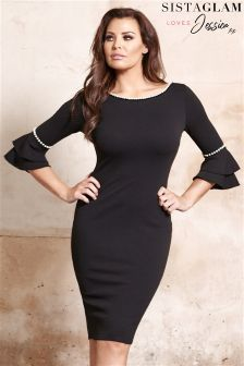 Jessica Wright Pearl Double Flute Sleeve Midi Dress