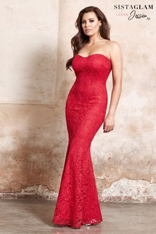 Jessica Wright Fishtail Bandeau Maxi Dress
