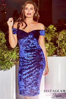 Jessica Wright Bardot Velvet Knot Bodycon Dress