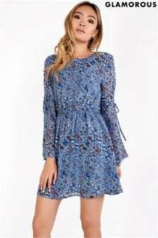 Glamorous Floral Bell Sleeve Skater Dress