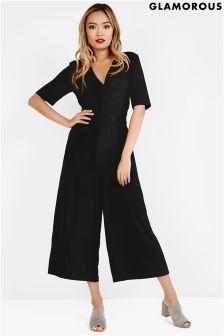 Glamorous Curve Wrap Front Jumpsuit