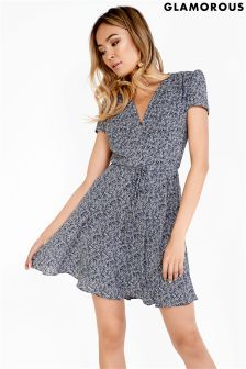 Glamorous Curve Printed V neck Tea Dress