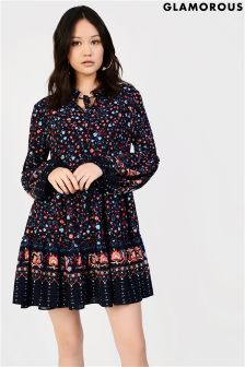 Glamorous Curve Bohemian Style Printed Smock Dress