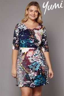 Yumi Curve Mixed Floral Jersey Dress