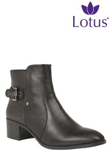 Lotus Buckle Detail Ankle Boots