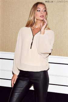Mela London Batwing Zip Detail Top