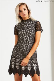 Mela London Scallop Lace Neck Dress