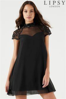 Lipsy Embellished Short Sleeve Swing Dress
