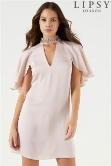 Lipsy Cape Sleeve Embellished Swing Dress