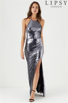 Lipsy All Over Sequin Lower Back Halter Neck Maxi Dress
