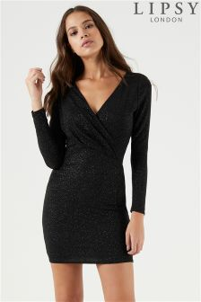 Lipsy Glitter Wrap Mini Dress