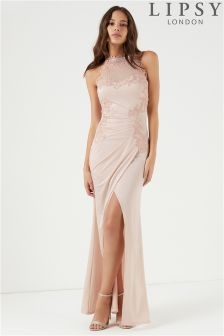 Lipsy High Neck Embroidered Trim Maxi Dress
