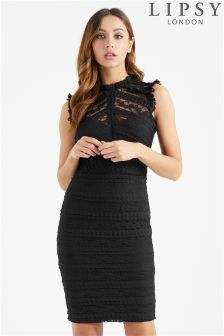 Lipsy All Over Lace Ruffle Bodycon Dress