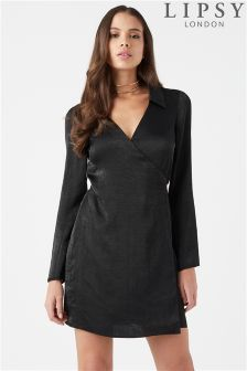 Lipsy Satin Wrap Shirt Dress