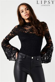 Lipsy All Over Lace Flute Sleeve Bodysuit