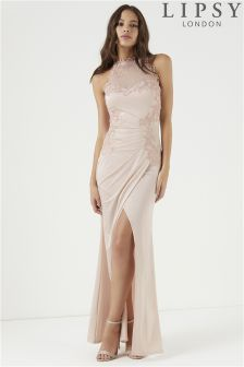 Lipsy Petite Embroidered High Neck Trim Maxi Dress