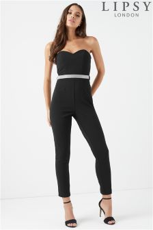 Lipsy Bandeau Jumpsuit With Diamanté Belt