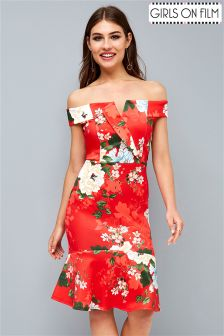 Girls On Film Floral Bardot Bodycon Dress