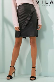 Vila Ruffle Leather Skirt