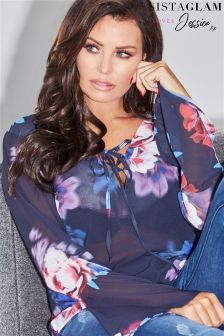 Jessica Wright Cold Shoulder Tie Sleeve Blouse