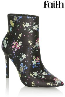 Faith Floral Print Pointed Boots