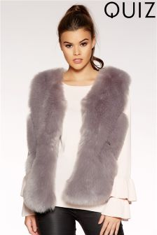 Quiz Chevron Faux Fur Gillet