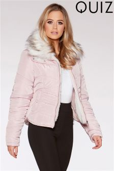 Quiz Faux Fur Collar Padded Short Jacket