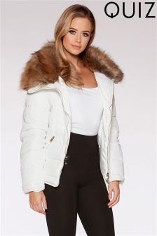 Quiz Short Padded Faux Fur Collar Jacket