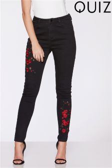 Quiz Rose Embroidered Skinny Jeans