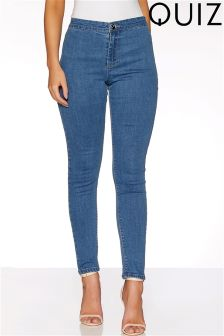 Quiz Mid Wash High Waist Skinny Jeans