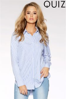 Quiz Pin Stripe Cotton Pearl Detail Shirt