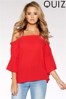 Quiz Cold Shoulder Flute Sleeve Top