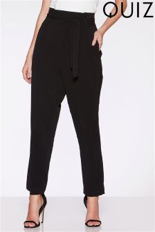 Quiz Crepe High Waist Tapered Trousers