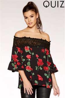 Quiz Rose Print Frill Sleeve Bardot Top
