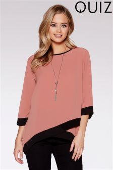 Quiz Contrast 3/4 Sleeve Necklace Top