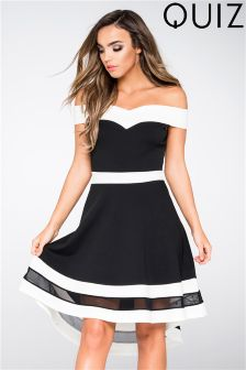 Quiz Bardot Contrast Dip Hem Dress
