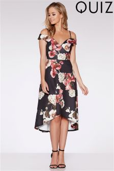 Quiz Floral Print Sweetheart Neck Dip Hem Dress