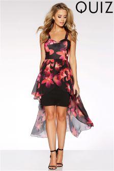 Quiz Chiffon Dip Hem Printed Dress