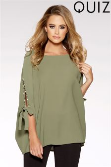 Quiz Khaki Split Tie Sleeve Batwing Top