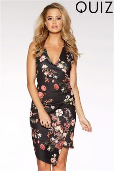 Quiz Floral Print Asymmetric Hem Dress