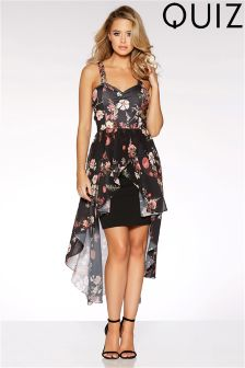 Quiz Floral Chiffon Dip Hem Dress