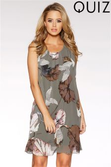 Quiz Khaki Bird Print Chiffon Shift Dress