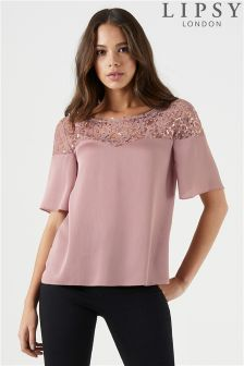Lipsy Sequin Lace Yoke Short Sleeve Top
