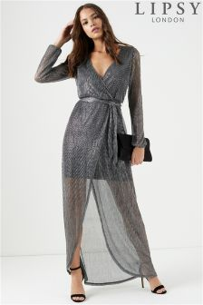 Lipsy Lurex Wrap Maxi Dress